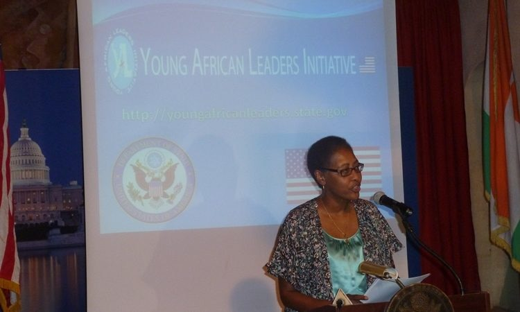 Amb Reddick giving remarks at the YALI event
